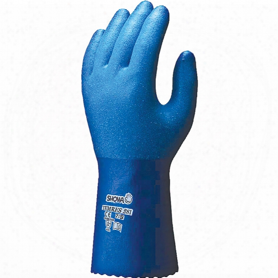 Showa 281 Temres Fully Coated Blue Gloves - Size 7