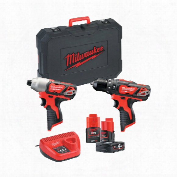 Milwaukee M12bpp2b-421c - 12v Compact Percussion Drill & Impact Driver Twin Pack