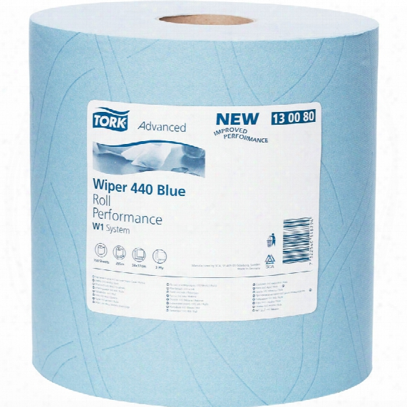 Tork 130080 Ind. H/d Paper 440 Giant Roll 3ply Blue (1)