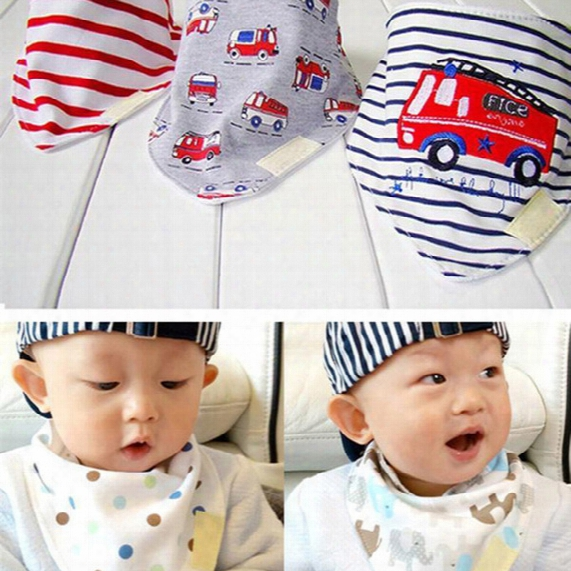 3pcs/set Kids Infant Newborn Baby Bandana Bibs Towel Saliva Towel Burp Cloths Cotton Cartoon Animal Styles