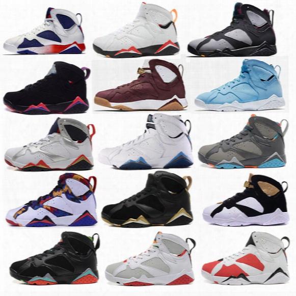 Air Retro 7 Men Basketball Shoes Unc Pantone University Blue Tinker Alternate Olympic Hares Bordeaux Cigar Cardinal French Blue Gmp Sneakers