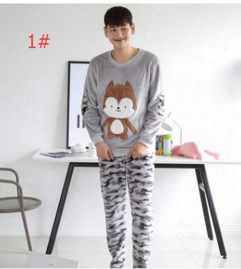 Autumn Couple Pajamas Men And Women Cartoon Camouflage Flannel Home Service Couples Pajamas Suit