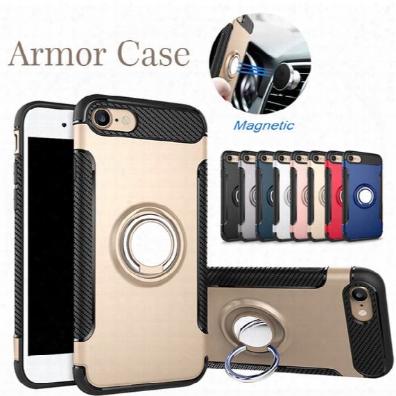 Back Cover Case For Iphone X 8 Plus Ring Phone Holder Magnetic Car Mount Kickstand Armor Cover Case For Samsung Note 8 In Opp Bag