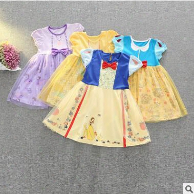 Cartoon Princess Dress Snow White Belle Dress Girl Cartoon Beauty And The Beast Birthday Party Dresses Baby Cotton Floral Tulle Dress 669