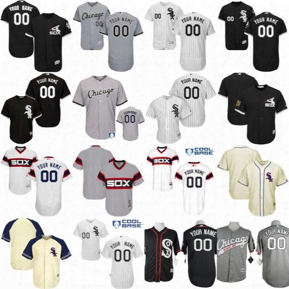Custom Chicago White Sox #45 Men 72 Carlton Fisk 7 Tim Anderson 10 Yoan Moncada Jose Abreu Bo Jackson Frank Thomas Flexbase Baseball Jersey