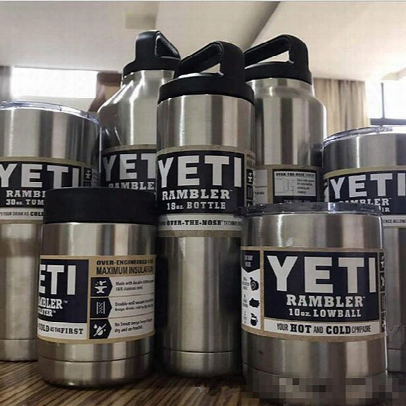 Drinkware Yeti Cup 304 Stainless Steel Double Layer Beer Bottle 18oz Car Cup 10/12/20/3036 / 64oz