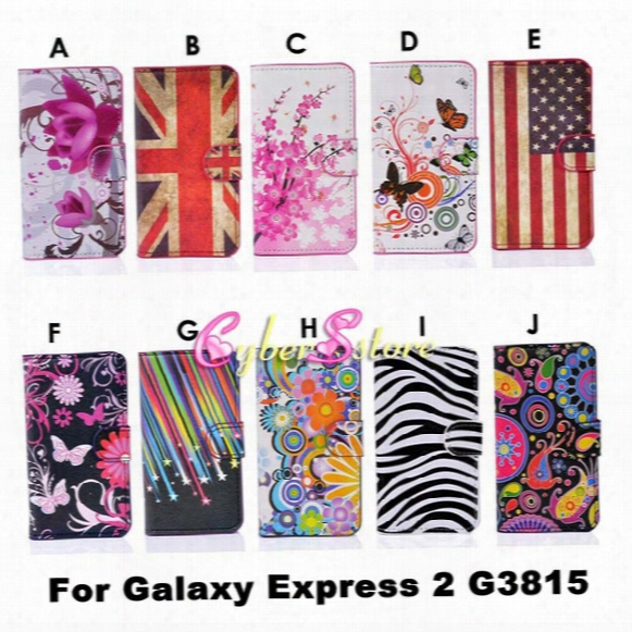 Fashion Flower Uk Us Flag Zebra Wallet Pu Flip Leather Case Cover With Card Slots Stand Holder For Samsung Galaxy Express 2 G3815