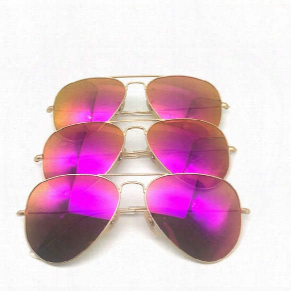 Fashion Sunglasses For Women Brand Designer Sunglasses Soscar Authentic Sunglasses Gold Frame Pink Purple Mirror Lenses 112/4t 58mm