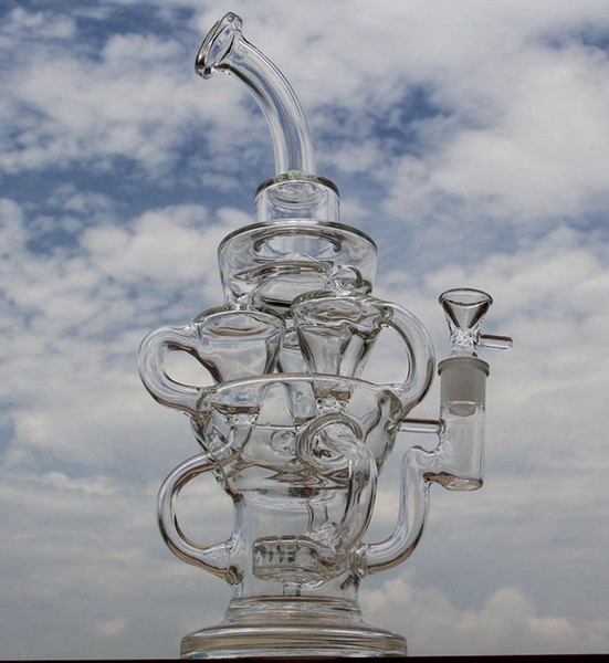 Ftk Style Big Size Bong New Design Hollow Out Glass Recycler Glass Bong D&k Brand Water Pipe With Tyre Perc Amazing Vortex