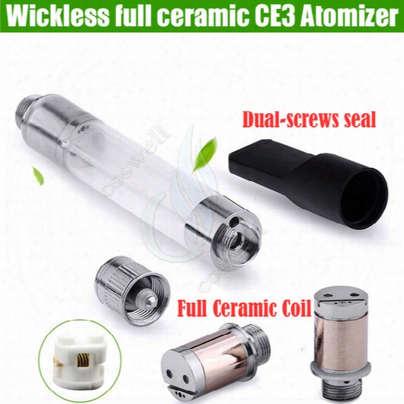 Full Ceramic Wickless Cartridges Vaporizer 510 O Pen Ce3 Bud Thick Oil Vape Tank Vapen Replacement Coils E Cig Cigarettes Vapor Atomizer Dhl
