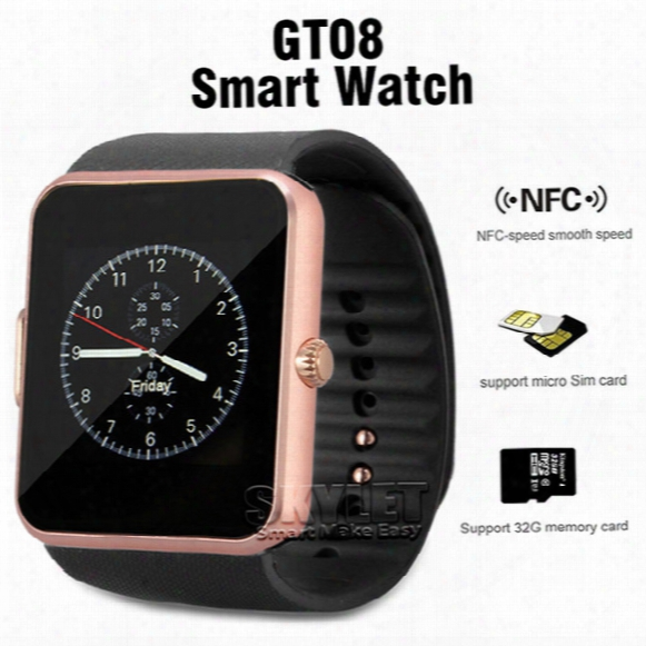 Gt08 Bluetooth Smart Watch With Sim Card Slot And Nfc Health For Android Samsung And Ios Apple Iphone Smartphone Bracelet With Package