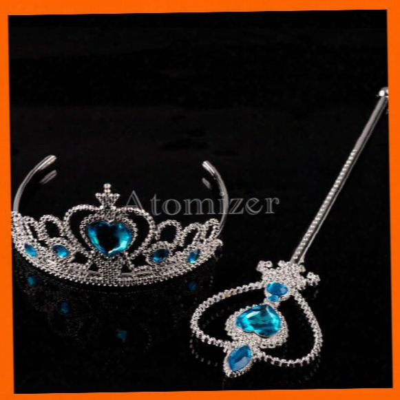 Hot Children Girls Cartoon Frozen Ornament Anna Elsa Cosplay Crown Tiaras Children Party Accessories (magic Wand Sticks + Rhineston(1704012)