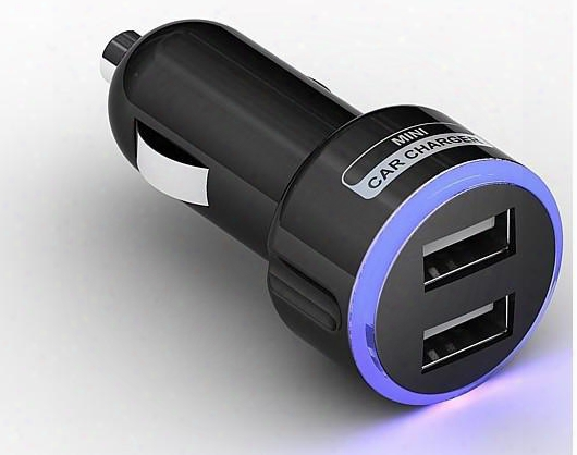 Led Blue Light Color Ring Circle Double 2 Dual Mini Usb Car Dc Charger 5v 2.1a For Galaxy Note Ipod Iphone 5 Mp3 Mp4 Black/white