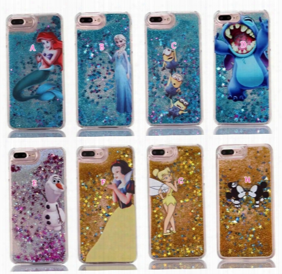 Liquid Bling Glitter Hard Pc Case For Iphone 7/plus/6 6s/se 5 5s Stitch Frozen Mickey Mouse Snow White Quicksand Cartoon Sparkle Cover Skin