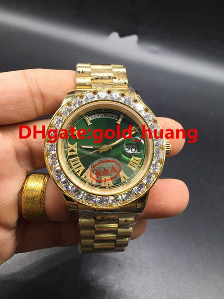 New Luxury 43mm Gold Big Diamond Mechanical Man Watch (red, Green, White, Blue, Gold) Dial Automatic Stainless Steel Men's Watches 2017