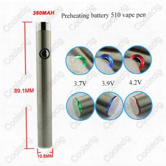 Newest Vaporizer 350mah Preheating Battery 510 Vape Pen Adjustable Voltage For Thick Oil Cartridge Vaporizer Pen With Usb Charger