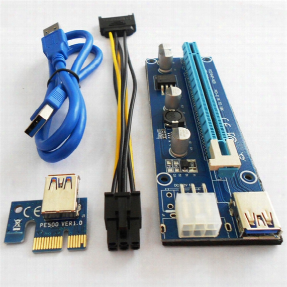 Pci-e Express Extender Riser Card Adapter 1x To 16x W 4/6/15 Pin Power Cable Usb 3.0 Ports Cables For Bitcoin