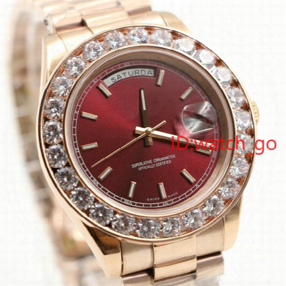 President Day Date 18k Gold Perpetual Fashion Mens Watch Big Diamond Bezel Gold Stainless Steel Original Strap Automatic Men Watches #698.