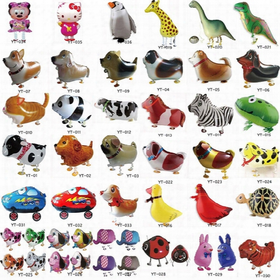 Walking Pet Animal Helium Aluminum Foil Balloon Automatic Sealing Kids Baloon Toys Gift For Christmas Wedding Birthday Party Supplies 2558-2