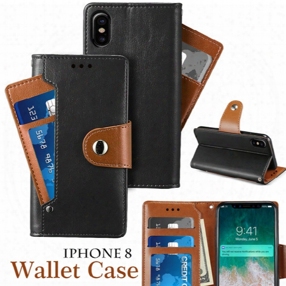 Wallet Case For Iphone X Note 8 Pu Leather Case Back Cover Pouch With Card Slot Photo Frame Function As Kickstand With Opp Package