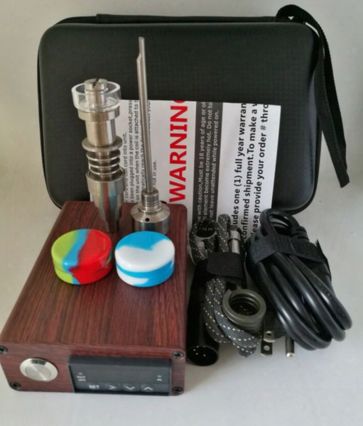 Wood Color E Nails Electric Dab Nail Tc Pid Box Dabber Dab Rig Enail Domeless Titanium Ti Carb Cap Free Dhl