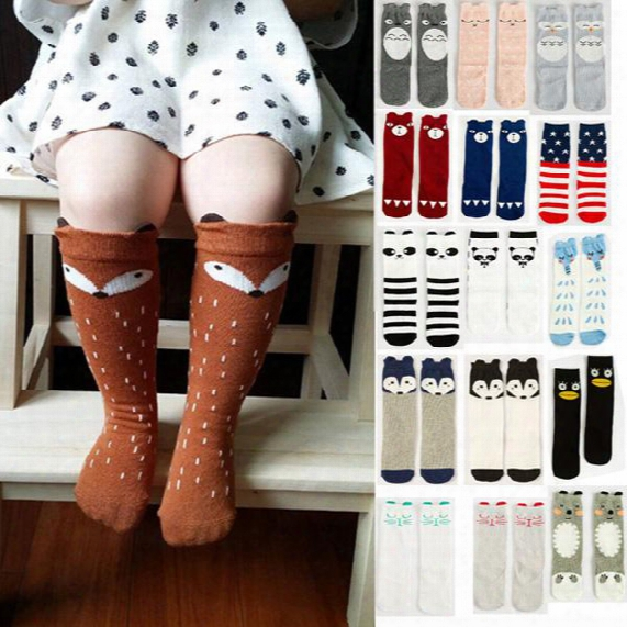 100pairs 2016 Fashion Unisex Fox Socks Cartoon Animal Leg Warmers Baby Girls Boys Knee High Cat Elephant Panda Kids Knee Pad Sock 201510hx