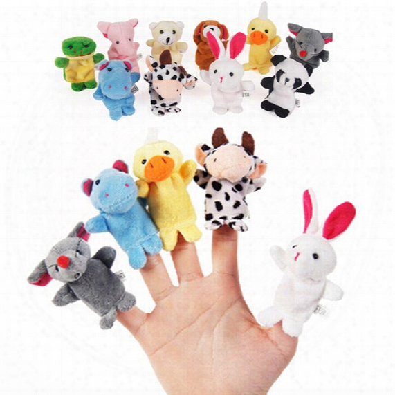 10pcs Cute Cartoon Biological Animal Finger Puppet Plush Toys Child Baby Favor Dolls Boys Girls Finger Puppets