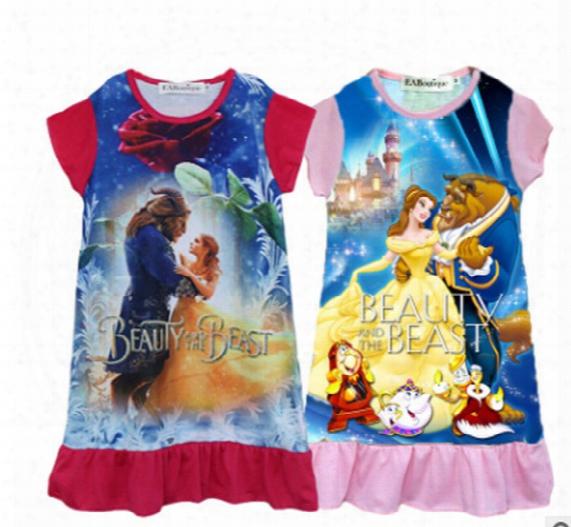 2 Color New Baby Girls Beauty And The Beast Dress Cartoon Children Printing Sleeveless Princess Dress Kids Clothing Xt