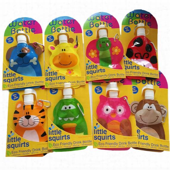 200ml Lovely Cartoon Animal Water Bag Eco Friendly Foldable Plastic Drink Bottle Safe Kids Gift Travel Supplies Portable Water Bottle 20pcs