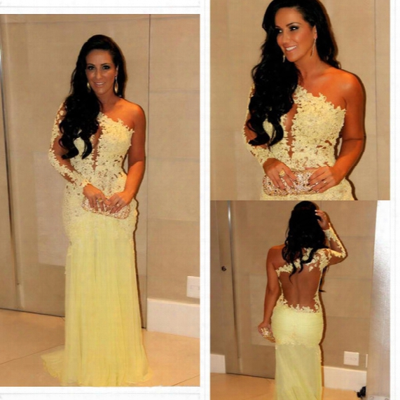 2014 Oscar Yellow Mermaid Lace Long Sleeve Prom Dresses Sheer Chiffon Evening Gowns Long Celebrity Red Carpet Dresses One Shoulder Neckline