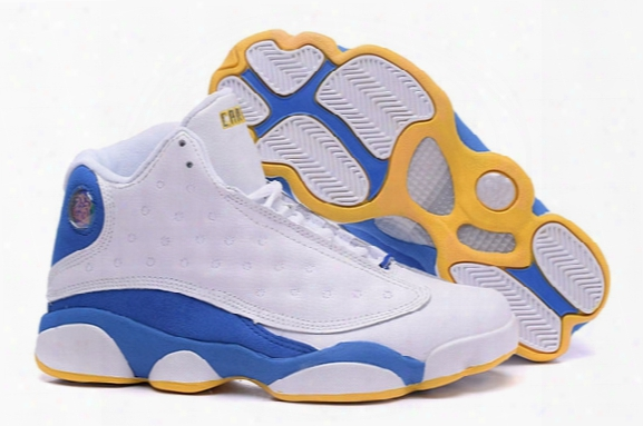2016 New Retro 13 High Quality Carmelo Anthony Kyam Yellow Blue And White Men Cheap Basketball Shoes Size:8-13