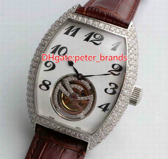 2017 Fashion Distinguished Luxury Classic Precision Imported Top Automatic Calendar Back Through Tbe Barrel Shaped Diamond Belt Men's Watch