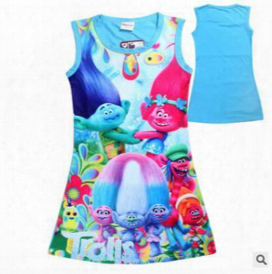 2017 Summer Girls Dresses Cartoon Trolls Big Girl Dress Outwear Cotton Sleeveless Nightwear Kids Clothing Baby Girls Clothes Girls Clothing