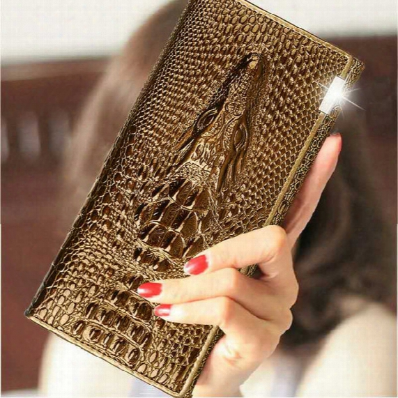 2017 Top Fashion Luxury Crocodile Pattern Real Leather Wallet Women Business Fold Long Card Holder Designer Clutch