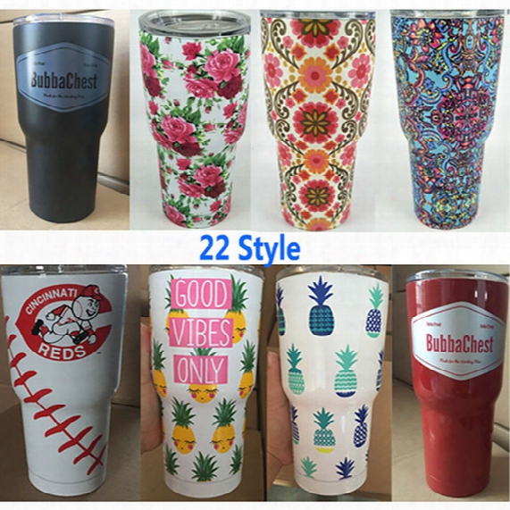 30oz Stainless Steel Tumbler Travel Mug Cup Bohemia Butterfly Printed Travel Car Coffee Drink Water Bottles Mug Cup Free Dhl Xl-187