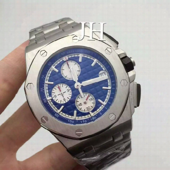 Aaa Luxury Brand Watches For Mens Blue Automatic Date Chronograph Wrist Watch Stainless Steel Strap Man Sports Mechanical Wristwatches