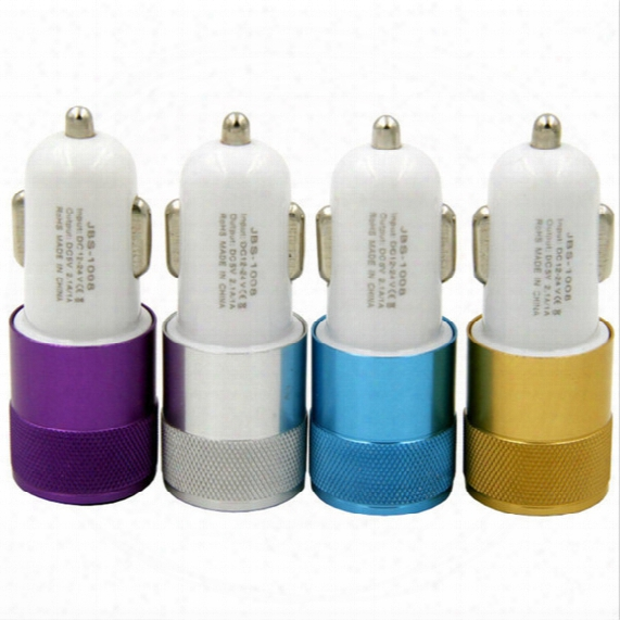 Aluminium Alloy Led Lights Dual Usb Car Charger 2-port Aluminum Mini Adapter 12v 2.1a 1.0a