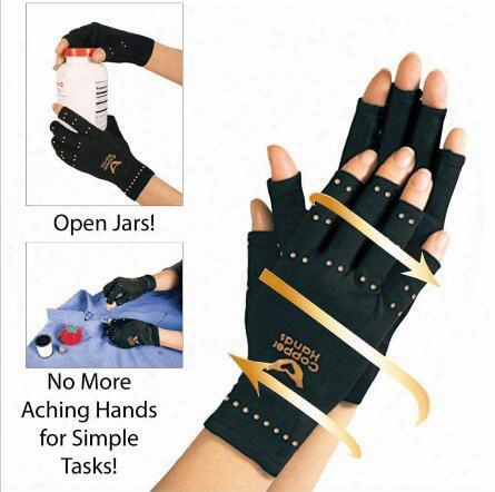 Arthritis Compression Gloves Copper Hands Glove Women Men Health Care Half Finger Ache Pain Rheumatoid Therapy Sports Gloves Box Package