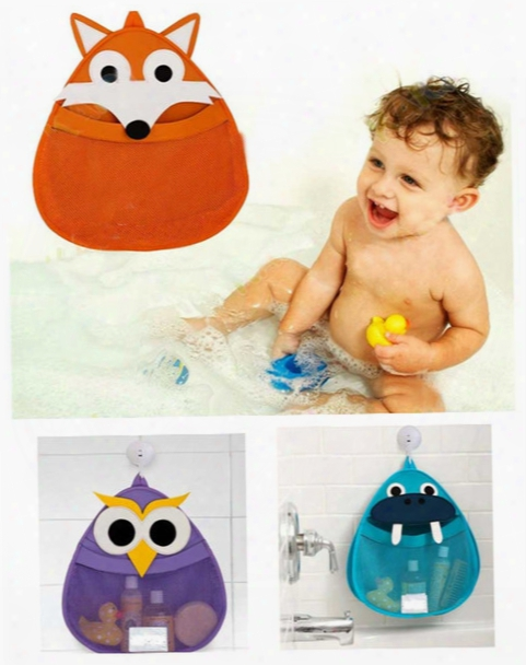 Bath Toy Storage Net Bag Cartoon Owl Fox Hippo Bathroom Tidy Organizer Baby Kids Shower Accessories