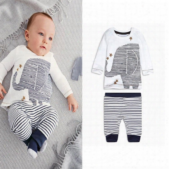 Boys Girls Cartoon Elephant Print Long-sleeved Striped Tshirt Tops Tees Baby Boys Clothes Newborn Autumn Leisure Suit Set Warm Clothing