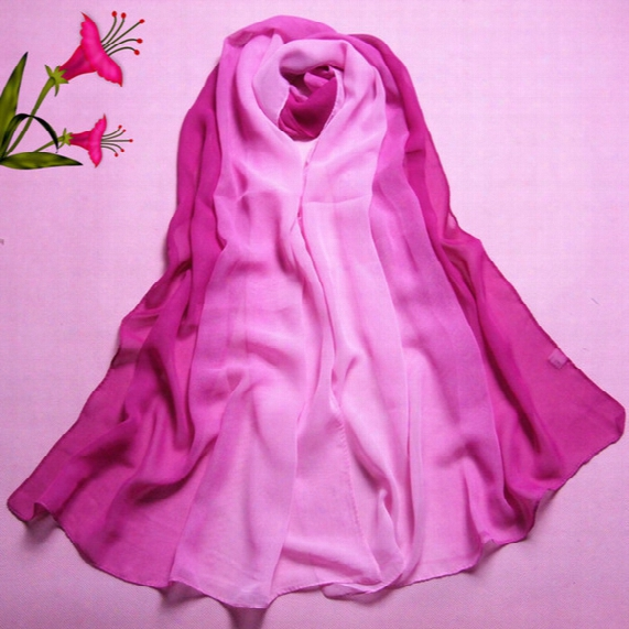 Chiffon Scarves Solid Women Beach Shawls 2 Color Gradual Changing Unique Changing Female Silk Scarf Wholesale Ss-013