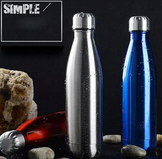 Cola Shape Water Bottle Marble Texture Bowling Cups Travel Drinking Vacuum Insulated Double Walled 304 Stainless Steel Car Mugs