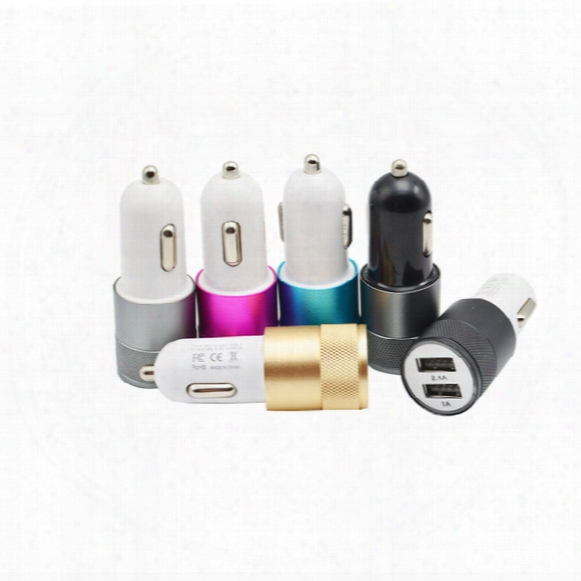 Dual Usb Port Car Charger Universal 2.1a 3.1a Aluminum Metal Abs Adapter For Iphone5 5s 6 Plus 7 ,samsung Galaxy S8 S7 S6