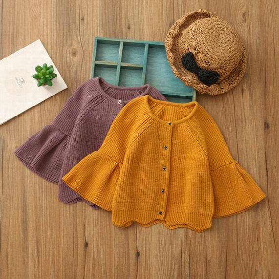 Everweekend Girls Knitted Sweater Cardigans Bell Sleeve Candy Orange Purple Color Cute Autumn Spring Jackets Outwears