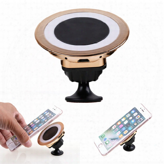 Factory Sale Qi Wireless Charger Dock Magnetic 360 Rotating Mount Car Holder Charging For Samsung S6 Edge S7 Edge Shipping Fast