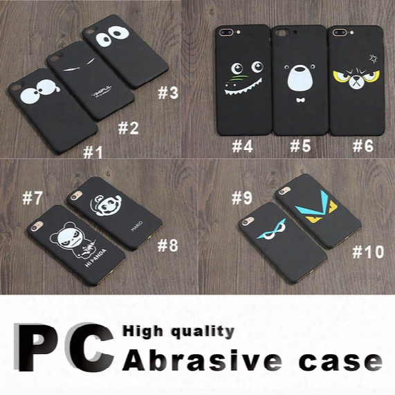 For Iphone7 / 6s / 5 Cartoon Eyes Series Mobile Phone Case Black Matte Shell Protection Case Pc Hard Case With Opp Package