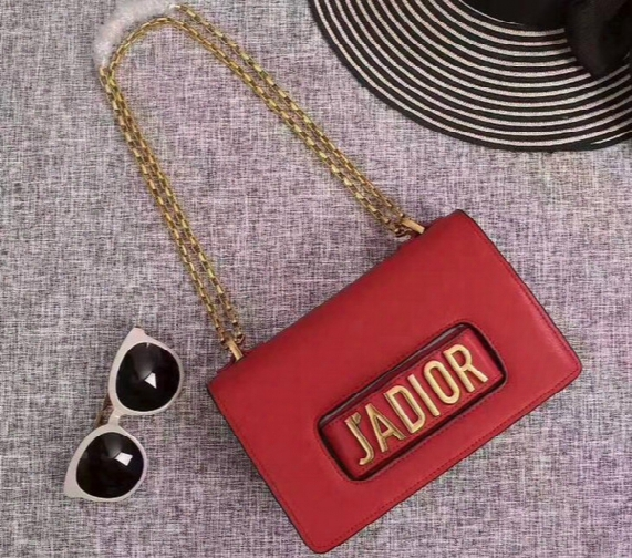 J'adior Flap Bag With Chain In Calfskin Leather Carried In Hand Aged Gold-tone Metal Jewellery Come With Dust Bag+box Free Shipping