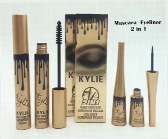 Kylie Jenner Cosmetics Birthday Edition 3d Fiber Lash Mascara+ Eyeliner 2 In 1 Kyliner Waterproof Makeup Sets Free Shipping