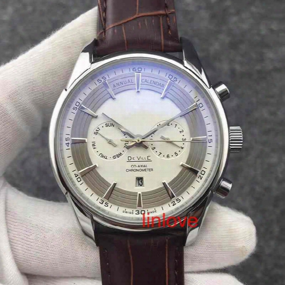 Leather Strap  Glass Back Luxury Brand Automatic Mechanical Watch Brown Stainless Steel Mens Business Wristwatch Dress Casual Men's Watches