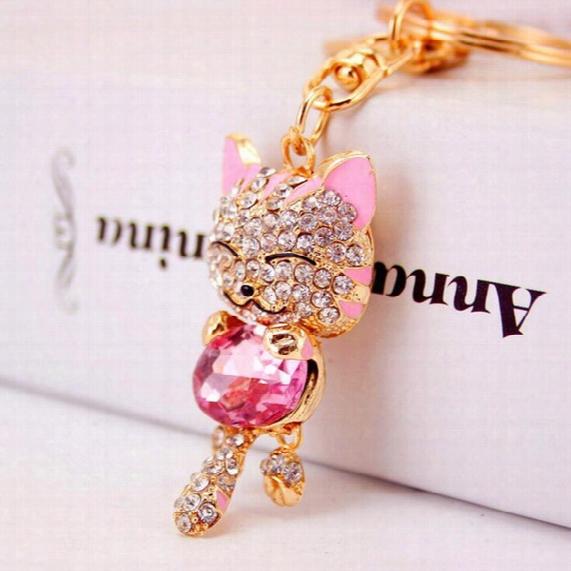 Lucky Cat Smile Cat Keychains Crystal Handbag Pendant Car Key Ring Purse Bag Buckle Key Chain Christmas Gift